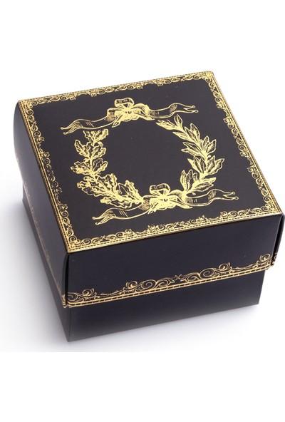 Ambalaj Hikayeleri Karton Kapaklı Kutu Siyah Gold Çelenk Varaklı