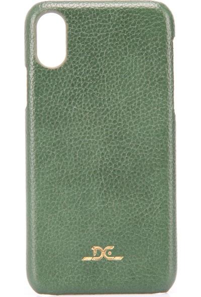 Dc Apple iPhone X / XS Deri Arka Kapak Altın Varak Baskılı - Yeşil