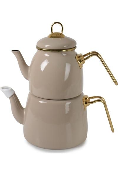 Zucci Emaye Çaydanlık Takımı - Bej