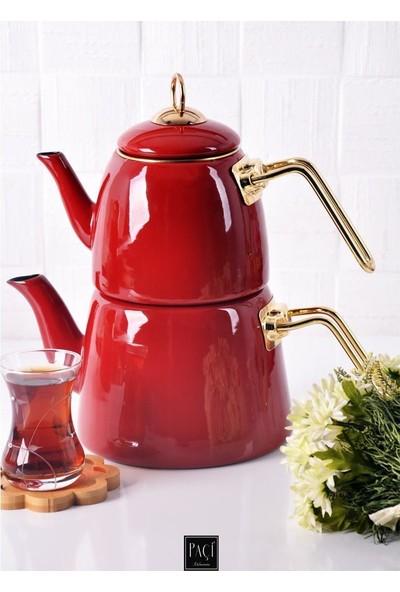 Paçi Emaye Lüks Çaydanlık - Kırmızı