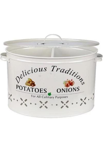Zucci Zucci Metal Bölmeli Patates Soğan Kovası Beyaz