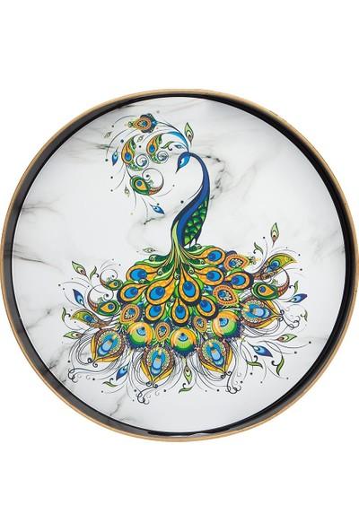 Zucci Otantik Yuvarlak Tavus Kuşu Desenli Tepsi 42cm