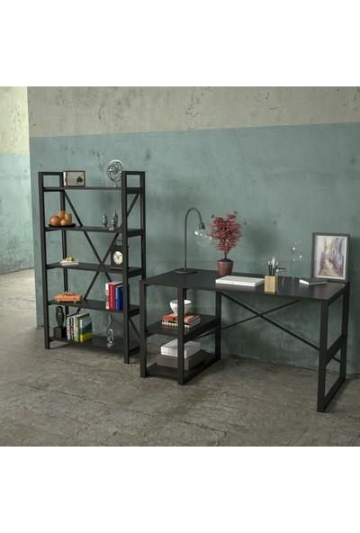 Eko Express Metal Dekoratif Çalışma Masası ve Raf Kitaplık Siyah