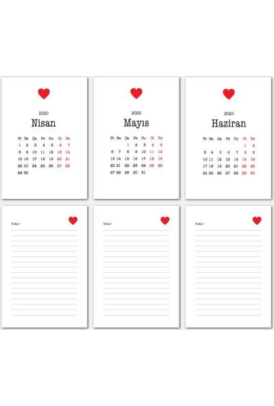 Bi'aldım Kalp Tasarımlı Masa Takvimi