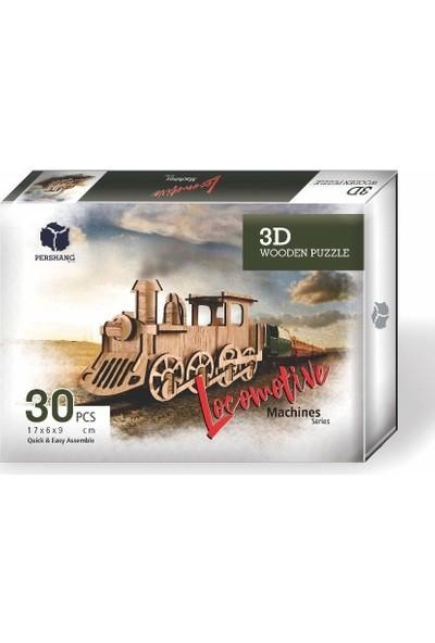 Pershang Lokomotif 30 Parça Ahşap 3D Puzzle