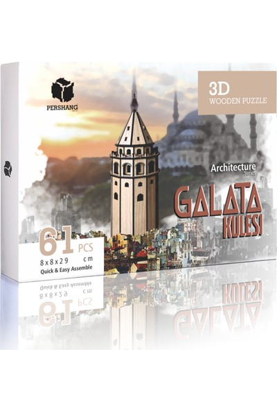 Pershang Galata Kulesi 63 Parça 3D Ahşap Puzzle