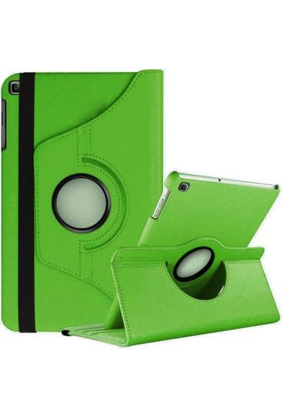 Coverzone Samsung Galaxy Tab A SM-T510 Kılıf 360 Derece Dönerli Standlı Deri Kılıf Yeşil