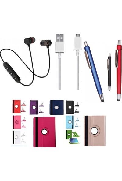 "EssLeena Samsung Kılıf Seti Galaxy Tab A 2019 SM-T290/T295/T297 8"" 360 Derece Dönerli PlusTech Kılıf + Kalem + Spor Bluetooth Kulaklık + Şarj Kablosu (Mor)"