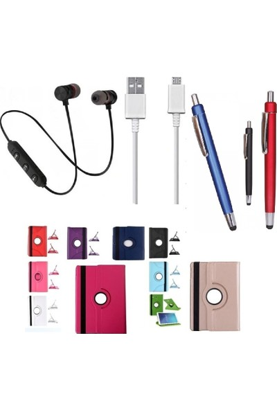 "EssLeena Samsung Kılıf Seti Galaxy Tab A6 SM-P580/P585 10.1"" 360 Derece Dönerli PlusTech Kılıf + Kalem + Spor Bluetooth Kulaklık + Şarj Kablosu (Kalemli Model) (Turkuaz)"