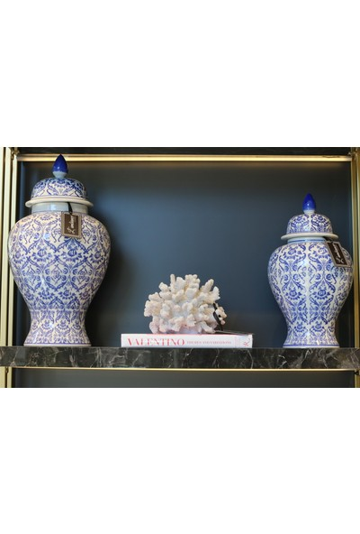L'ambiance Istanbul Bleu Blanc Porselen Küp 50CM