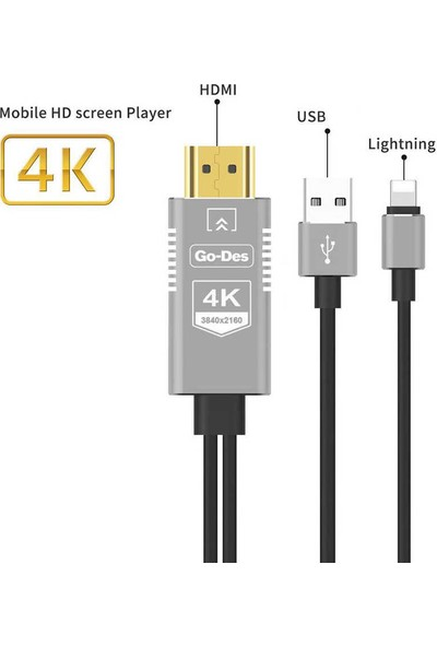 Go-Des GD-8278 HDTV 4K Lightning to HDMI Kablo 1.8 mt