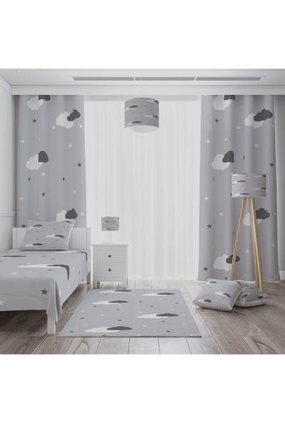 Cici Gri Zemin Beyaz ve Koyu Gri Bulutlar Çocuk Halısı 80 x 150 cm