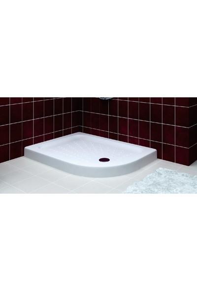 Ubm Banyo Asimetrik Oval Monoblok Duş Teknesi Sağ 80 x 110 cm