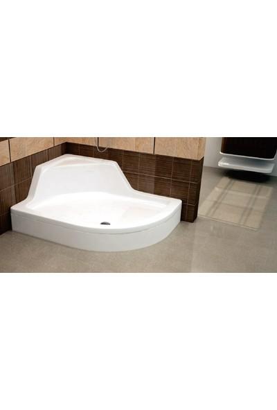 Ubm Banyo Asimetrik Oval Oturmalı Duş Teknesi Sol 80 x 100 cm