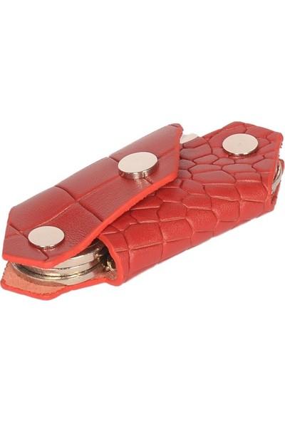 Minitiny Akıllı Anahtarlık - Kırmızı Kroko Deri - Minitiny