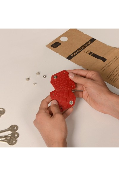 Minitiny Akıllı Anahtarlık Clk - Kırmızı Kroko Deri - Minitiny