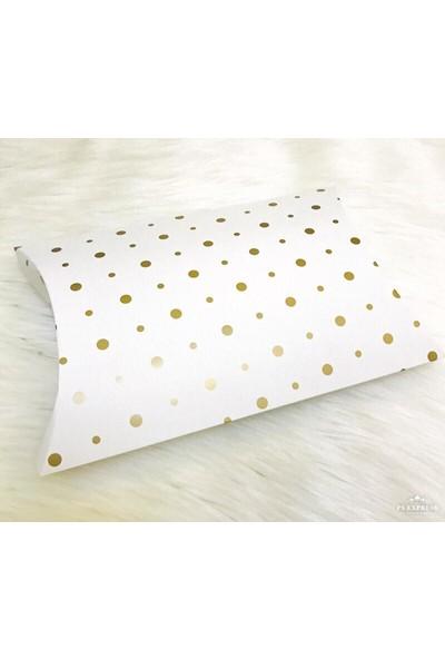 Janef Hediyelik Yastık Kutu Puantiyeli Yaldız Baskılı 16 x 19 x 4 cm 10 Adet