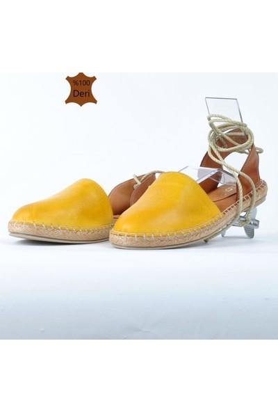 Hotanto Kadın Selin Limon Sarısı Deri Yazlık Bilekten Bağlı Günlük Kadın Sandalet