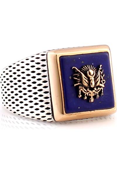 Hanzade Gümüş 925 Ayar Gümüş Mavi Lapis Taşlı Erkek Yüzük
