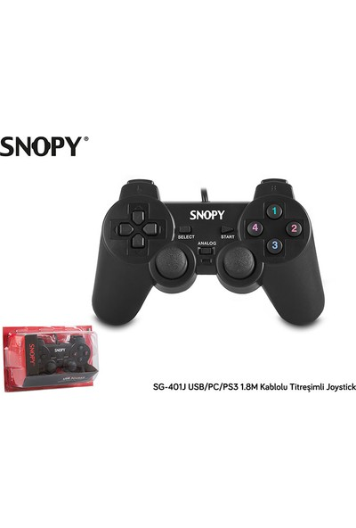 Snopy SG-401J USB/PC/PS3 1.8M Kablolu Titreşimli Joystick