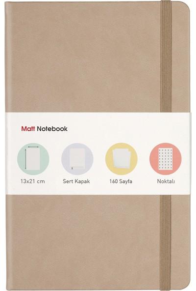 Matt Notebook Lastikli Defter Noktalı 13 x 21 cm Bej