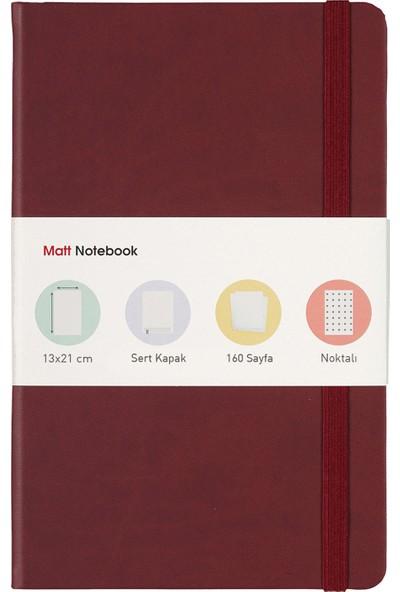Matt Notebook Lastikli Defter Noktalı 13 x 21 cm Bordo