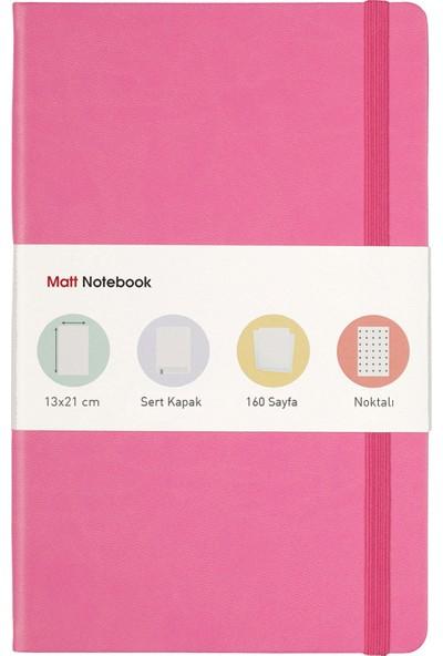 Matt Notebook Lastikli Defter Noktalı 13 x 21 cm Pembe