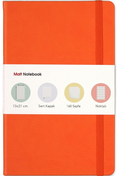 Matt Notebook Lastikli Defter Noktalı 13 x 21 cm Turuncu