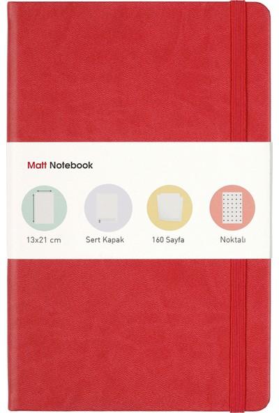 Matt Notebook Lastikli Defter Noktalı 13 x 21 cm Kırmızı