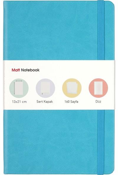 Matt Notebook Lastikli Defter Düz 13 x 21 cm Turkuaz