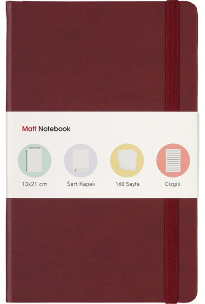 Matt Notebook 13x21 Lastikli Defter Çizgili Bordo