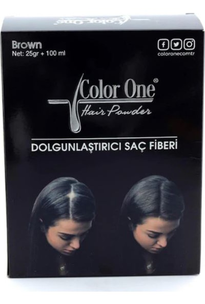 Color One Hair Powder Brown Dolgunlaştırıcı Saç Fiberi 25 gr +100 ml