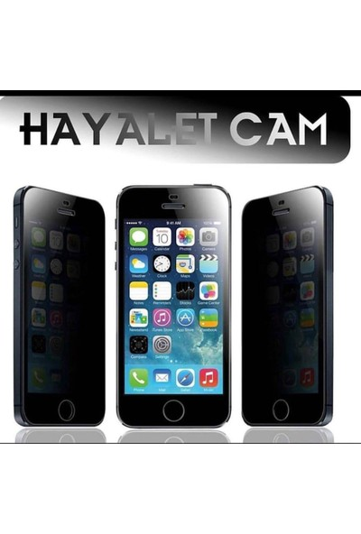 Glass Apple iPhone 6 Plus Tam Kaplayan Privacy Hayalet Cam Ekran Koruyucu Siyah