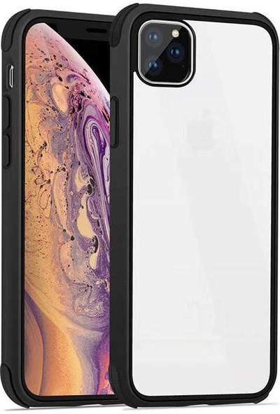 Fujimax Apple iPhone 11 Pro Max Silokon Çerçeveli Trion Temperli Kılıf - Siyah