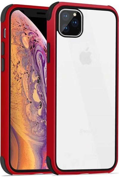 Fujimax Apple iPhone 11 Pro Max Silokon Çerçeveli Trion Temperli Kılıf - Kırmızı