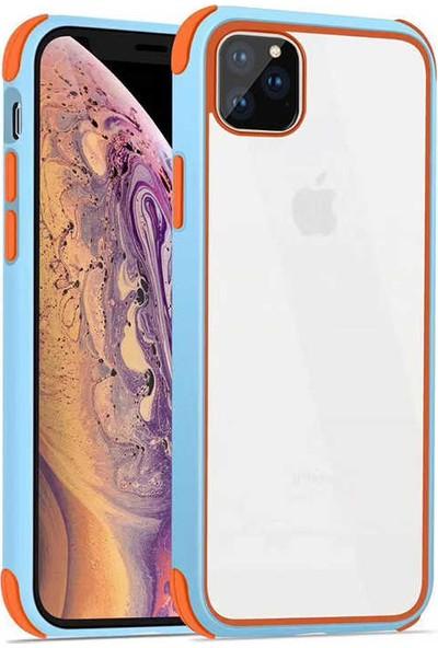 Fujimax Apple iPhone 11 Pro Max Silokon Çerçeveli Trion Temperli Kılıf - Açık Mavi
