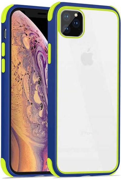 Fujimax Apple iPhone 11 Pro Max Silokon Çerçeveli Trion Temperli Kılıf - Lacivert