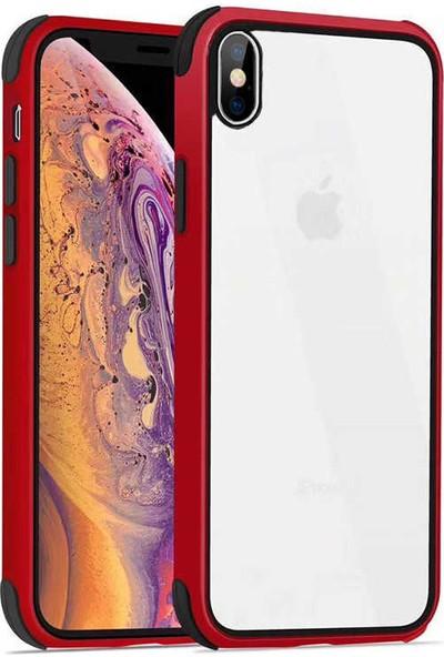 Fujimax Apple iPhone XS Silokon Çerçeveli Trion Temperli Kılıf - Kırmızı