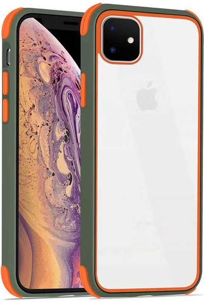 Fujimax Apple iPhone 11 Silokon Çerçeveli Trion Temperli Kılıf - Yeşil