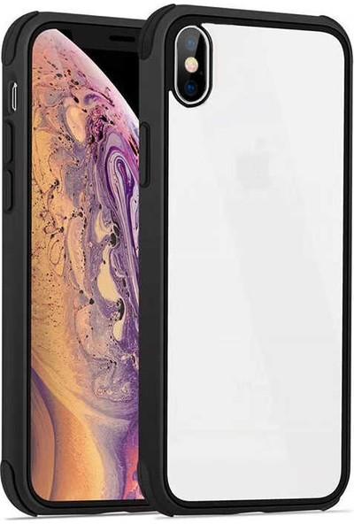 Fujimax Apple iPhone X Silokon Çerçeveli Trion Temperli Kılıf + 9H 330 Derece Bükülen (Japon Silikon + Cam) Nano Ekran Koruyucu - Siyah