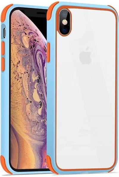Fujimax Apple iPhone XS Max Silokon Çerçeveli Trion Temperli Kılıf + 9H 330 Derece Bükülen (Japon Silikon + Cam) Nano Ekran Koruyucu - Açık Mavi