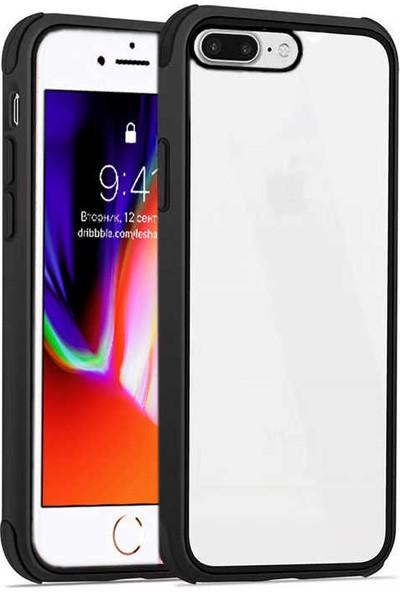 Fujimax Apple iPhone 8 Plus Silokon Çerçeveli Trion Temperli Kılıf + Kenarları Kırılmaya Dayanıklı 9D Tam Kaplayan Temperli Ekran Koruyucu - Siyah