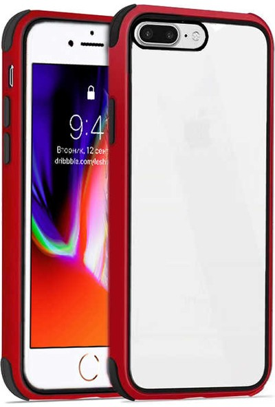 Fujimax Apple iPhone 8 Plus Silokon Çerçeveli Trion Temperli Kılıf + Kenarları Kırılmaya Dayanıklı 9D Tam Kaplayan Temperli Ekran Koruyucu - Kırmızı