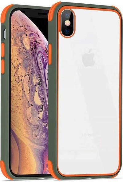 Fujimax Apple iPhone XS Max Silokon Çerçeveli Trion Temperli Kılıf + Kenarları Kırılmaya Dayanıklı 9D Tam Kaplayan Temperli Ekran Koruyucu - Yeşil