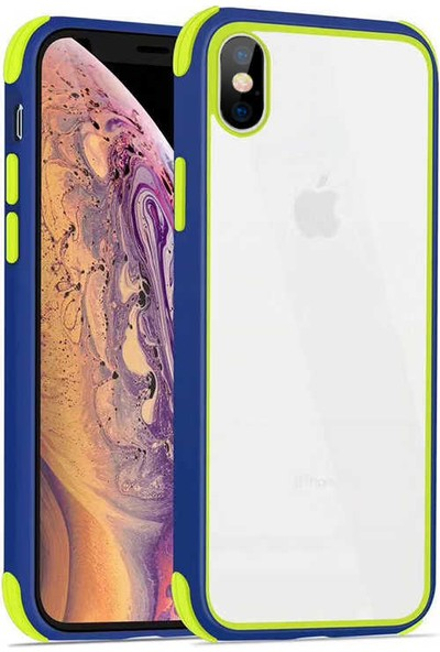 Fujimax Apple iPhone XR Silokon Çerçeveli Trion Temperli Kılıf + Kenarları Kırılmaya Dayanıklı 9D Tam Kaplayan Temperli Ekran Koruyucu - Lacivert