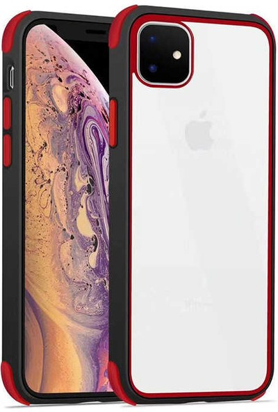Fujimax Apple iPhone 11 Silokon Çerçeveli Trion Temperli Kılıf + Kenarları Kırılmaya Dayanıklı 9D Tam Kaplayan Temperli Ekran Koruyucu - Kırmızı