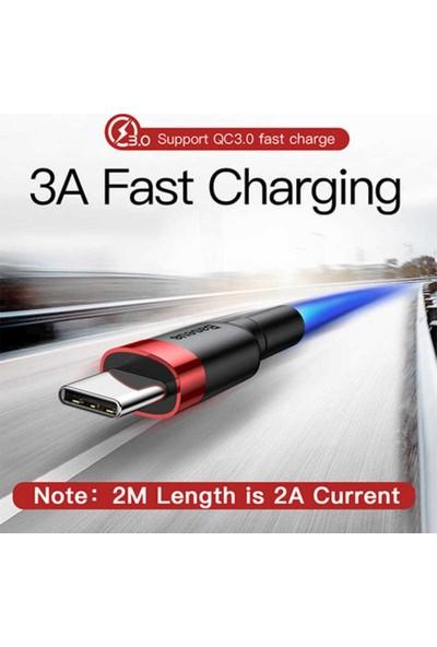 Baseus Cafule Type-C 3.0A 0.5M Hızlı Şarj / Data Halat Kablo - Gri