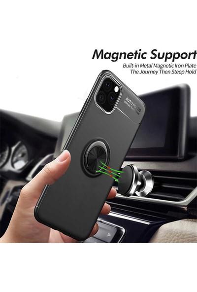 Livadi iPhone 11 Kılıf Yüzüklü Araç İçi Mıknatıslı Yeni Nesil Tam Koruma Kılıf - Rose Gold
