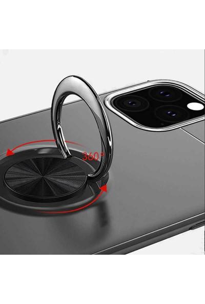 Livadi iPhone 11 Pro Kılıf Yüzüklü Araç İçi Mıknatıslı Yeni Nesil Tam Koruma Kılıf - Siyah - Kırmızı