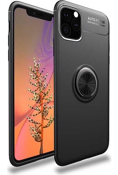 Livadi iPhone 11 Pro Kılıf Yüzüklü Araç İçi Mıknatıslı Yeni Nesil Tam Koruma Kılıf - Siyah